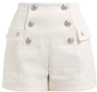 Balmain High Rise Cotton Tweed Shorts - Womens - White
