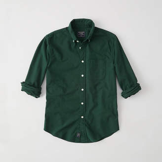 Abercrombie & Fitch A&F Men's Oxford Shirt in Dark Green - Size M
