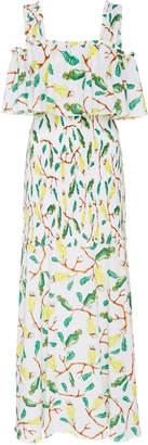 Isolda Urucum Printed Cotton-Voile Maxi Dress