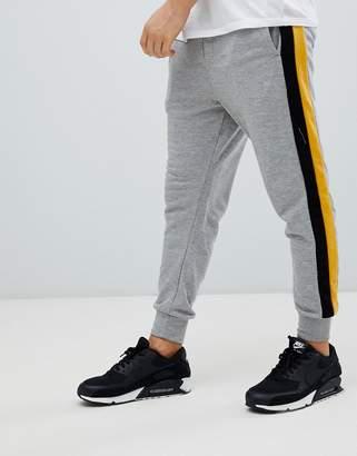 Bershka Jersey Joggers In Gray With Side Stripe