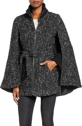 Women's Laundry By Shelli Segal Tweed Boucle Belted Cape $300 thestylecure.com