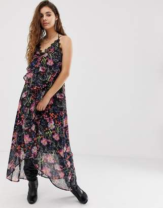 Religion cami midi dress with sheer floral layer