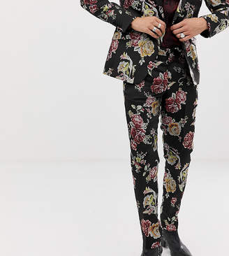 Heart N Dagger skinny suit pants in metallic floral