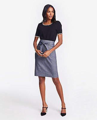 Ann Taylor Chambray Tie Waist Pencil Skirt