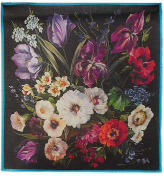 Dolce & Gabbana Frayed Floral-print Cashmere And Silk-blend Scarf - Black