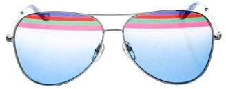 Salvatore Ferragamo Silver-Tone Aviator Sunglasses