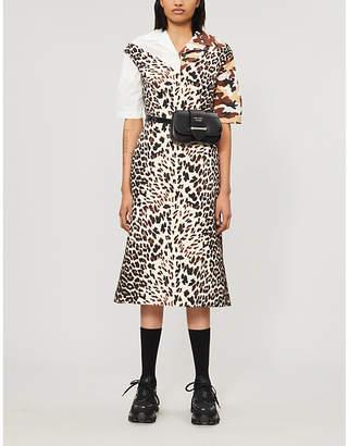 Prada Leopard-print wool midi dress