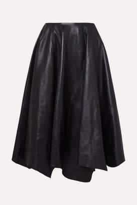 Marni Asymmetric Leather Midi Skirt - Navy