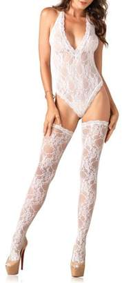 Leg Avenue Women's Sexy Stretch Lace Teddy and Thigh High Stocking 2 Piece Set