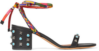 Valentino - Rockstud Rolling Leather Sandals - Black $895 thestylecure.com