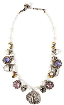 Alexander McQueen Crystal And Charm Embellished Pearl Necklace - Womens - Pearl