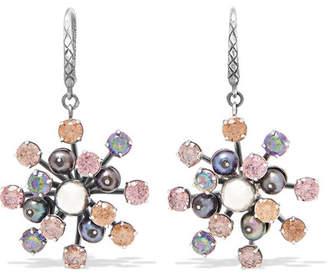 Bottega Veneta Oxidized Silver, Crystal And Pearl Earrings