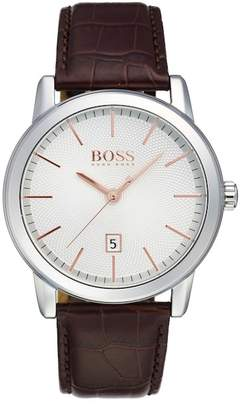 HUGO BOSS Men's Croc Embossed Leather Watch $195 thestylecure.com