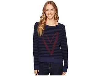 Allen Allen Stripe Thermal Long Sleeve Raglan Top Women's Long Sleeve Pullover