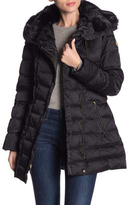Laundry by Shelli Segal Asy Belted Faux Fur Trim Puffer