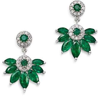 Bloomingdale's Emerald Marquis & Diamond Fan Drop Earrings in 14K White Gold - 100% Exclusive