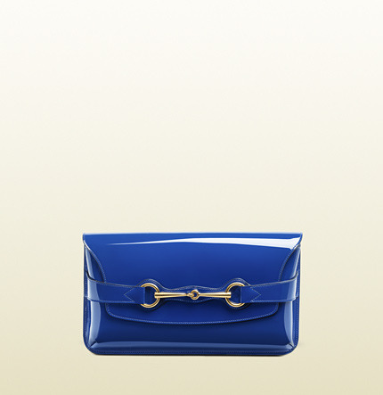 Gucci Bright Bit Deep Blue Patent Leather Clutch With Horsebit Detail