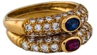 Ring 18K Ruby, Sapphire & Diamond Set