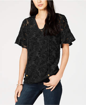 Michael Kors Flocked Illusion Top
