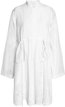 Chloé Pintucked Broderie Anglaise Cotton Shirt Dress
