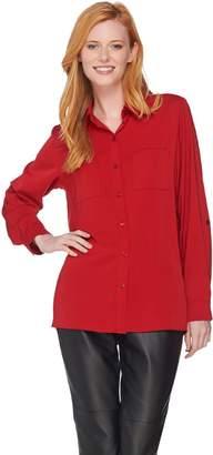 Susan Graver Stretch Peachskin Button Front Big Shirt