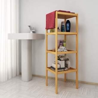 Unbranded Bamboo Bathroom Shelf 4-Tier Layered Multifunctional Storage Rack Shelving