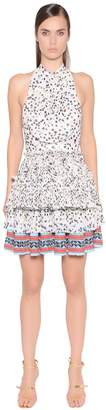 Just Cavalli Printed Pleated Techno Chiffon Dress