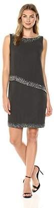 J Kara Women's Sleeveless Popover Short Cocktail Beaded Dress
