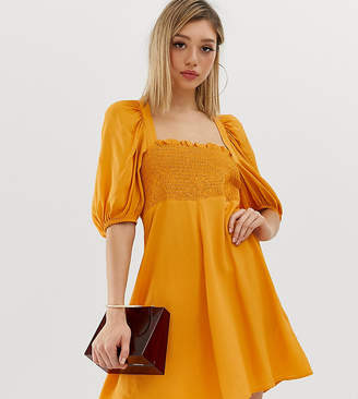 Asos DESIGN Petite shirred bustier mini skater dress with puff sleeve