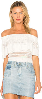 Endless Rose Ruffle Overlay Off The Shoulder Top in White $89 thestylecure.com