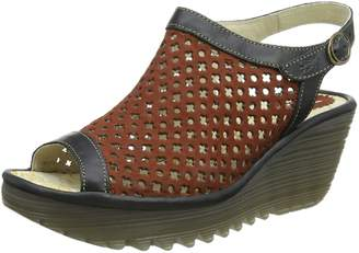 Fly London Womens Yuti734Fly Brick/Black Leather Sandals 40 EU