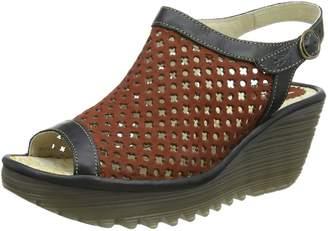 Fly London Womens Yuti734Fly Brick/Black Leather Sandals 40 EU