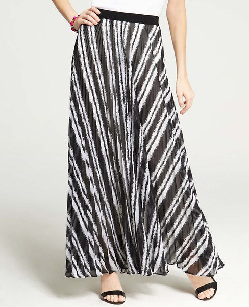 Ann Taylor Tall Chalk Stripe Pleated Maxi Skirt