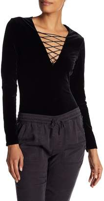 Pam & Gela Stretch Velvet Lace Up Bodysuit