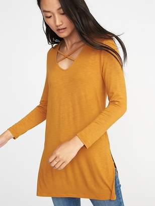 Old Navy Relaxed Lace-Up Luxe Tunic Tee for Women