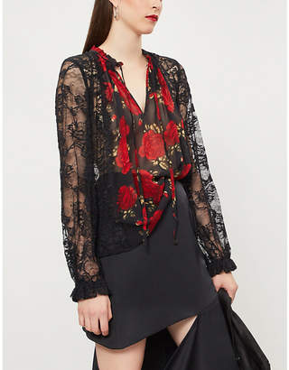 The Kooples Lace-trimmed floral-print silk blouse