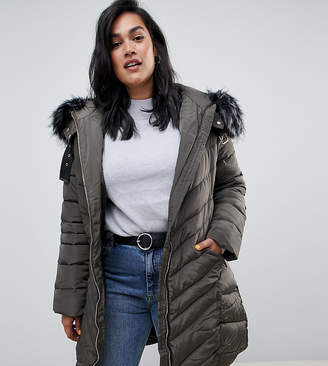 Lovedrobe Long Quilted Coat With Faux Fur Trim