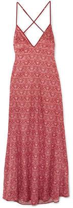 Coco de Mer - Printed Stretch-silk Satin Nightdress - Red