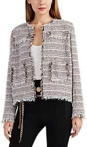 Barneys New York Women's Fringed Virgin-Wool-Blend Tweed Jacket - Beige, Tan