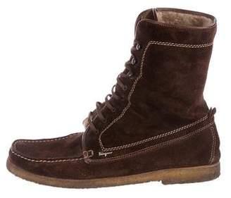 Salvatore Ferragamo Suede Lace-Up Boots