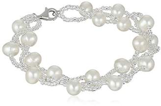 Bella Pearl Sterling Silver and Chinese Freshwater Cultured Pearl Beaded Bracelet