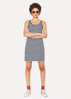 Paul Smith Women's Navy And White Breton-Stripe Cotton Dress