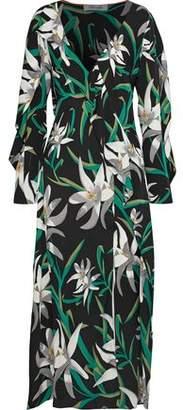 Diane von Furstenberg Wrap-Effect Floral-Print Stretch-Silk Midi Dress
