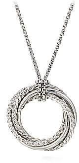 David Yurman Crossover Diamond& Sterling Silver Pendant Necklace