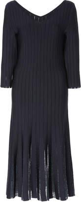 Zac Posen Embroidered Midnight Radiant Stripe Midi Dress
