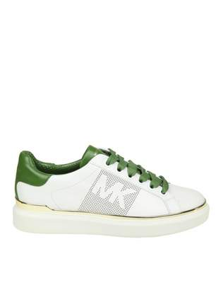 Michael Kors max Lace Up Sneakers In White Color Leather