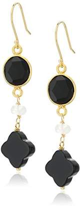 Black Onyx Clover Shape and Faceted Oval Bezel with Moonstone Roundel Gold-Plated Sterling Silver Ear Wire Drop Earrings