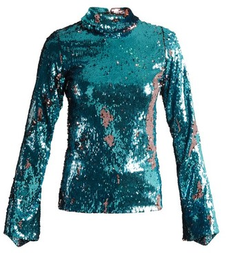 Halpern - Sequin Embellished High Neck Top - Womens - Blue Multi