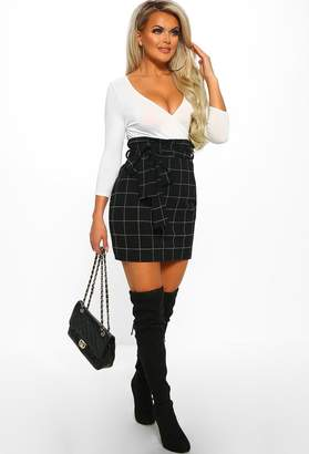 Pink Boutique Business Feeling Black Checked High Waisted Mini Skirt