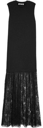 McQ Alexander McQueen - Cotton-jersey And Lace Maxi Dress - Black $435 thestylecure.com